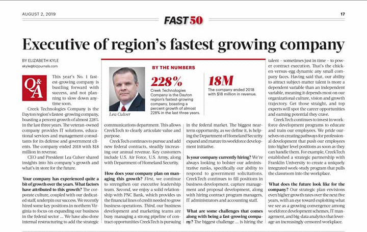 Executive of region's fastest growing company headline